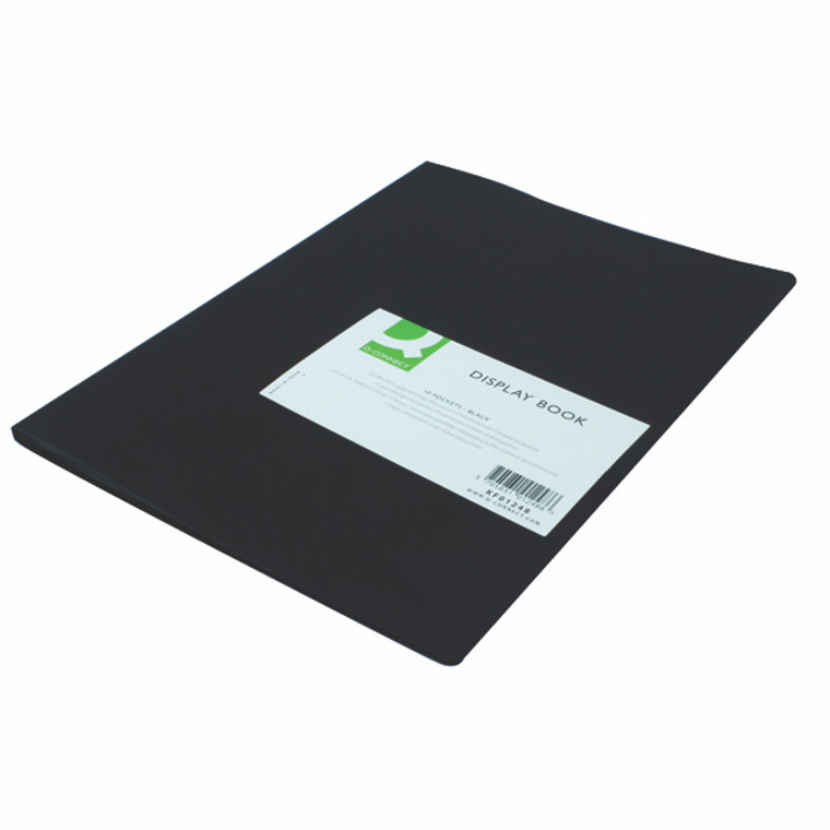 KF01248 Q-Connect Polypropylene Display Book 10 Pocket Black KF01248