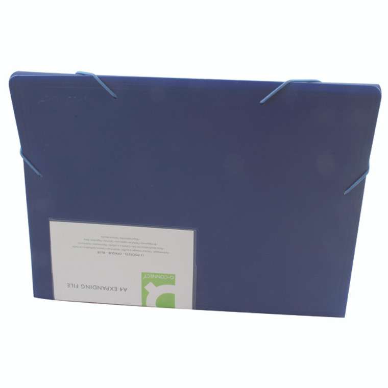 KF01275 Q-Connect Expanding File 13-Pocket Blue Size A4 durable hard wearing plastic KF01275