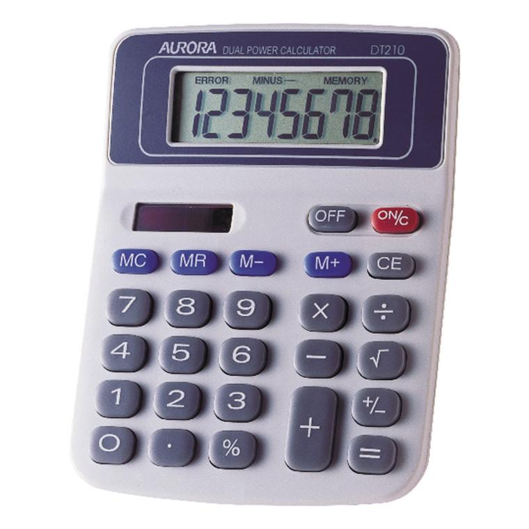 AO21001 Aurora White Blue 8-Digit Semi-Desk Calculator DT210