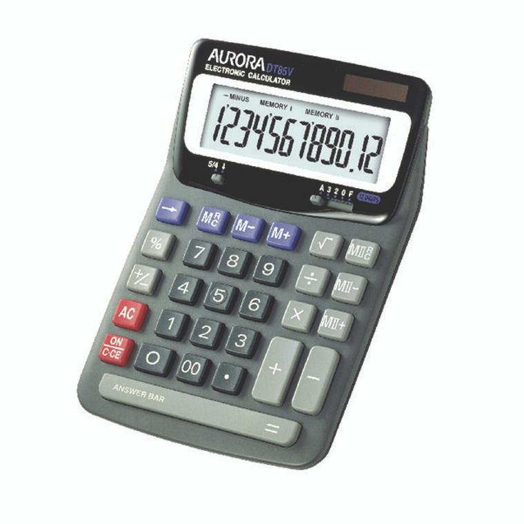 AO21056 Aurora Grey Black 12-Digit Desk Calculator Dual power solar powered with battery back up DT85V
