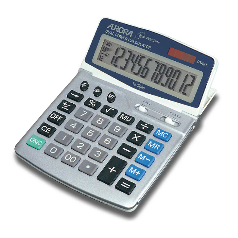 AO42044 Aurora Silver Grey 12-Digit Desk Calculator Solar powered with battery back up DT401