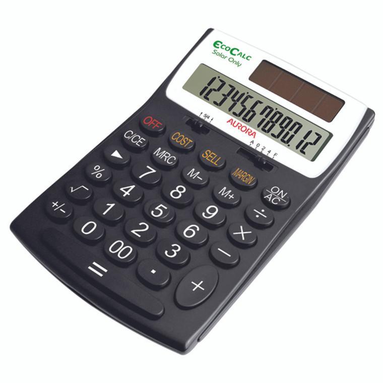 AO41447 Aurora Black White 12-Digit Desk Calculator EC505