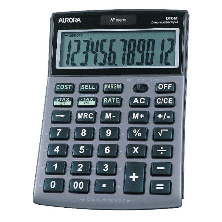 AO40364 Aurora Grey Black 12-Digit Semi-Desk Calculator DT661