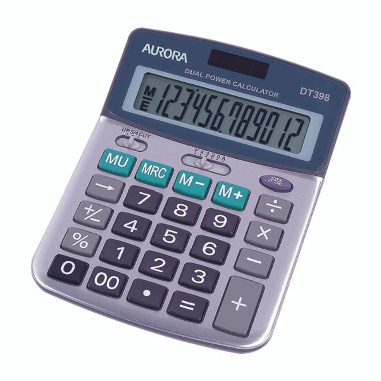 AO42028 Aurora Silver Grey 12-Digit Semi-Desk Calculator DT398
