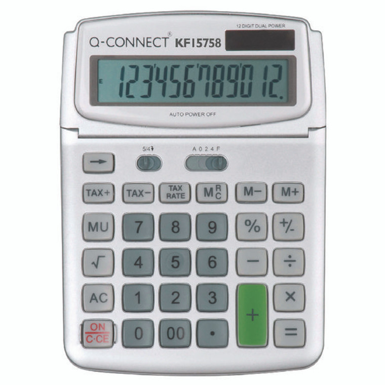 KF15758 Q-Connect Large Table Top 12 Digit Calculator Grey KF15758