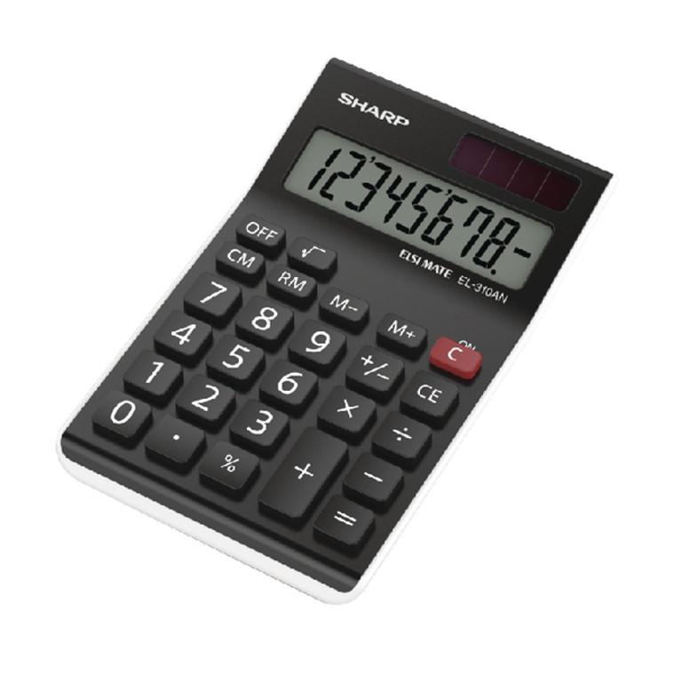 SH79374 Sharp EL310AN Semi-Desktop 8-Digit Calculator Black
