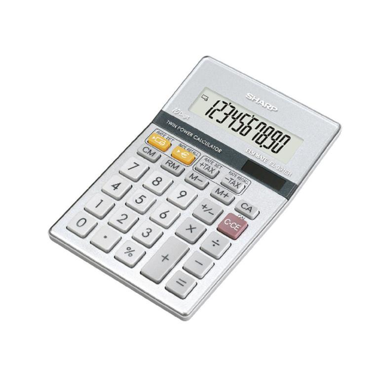 SH02444 Sharp Silver 10-Digit Semi-Desktop Calculator EL-331ER