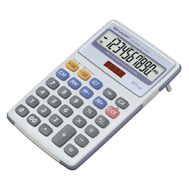 SH02272 Sharp White Grey 10-Digit Semi-Desktop Calculator EL334FB
