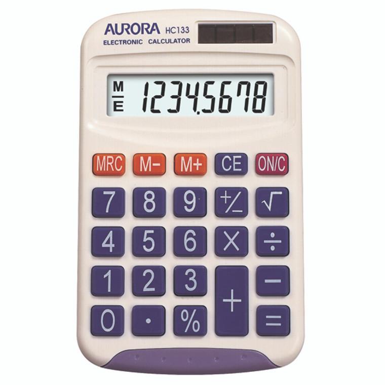 AO16071 Aurora HC133 Pocket Calculator White HC133