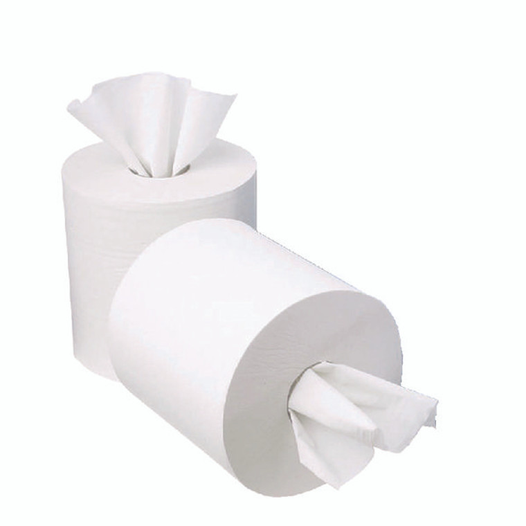 KF03784 2Work 1-Ply Mini Centrefeed Roll 120m White Pack 12 KF03784