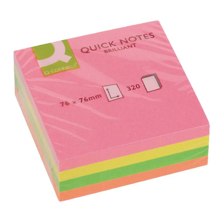 KF01348 Q-Connect Quick Note Cube 76 x 76mm Neon Adheres most surfaces removes easily KF01348