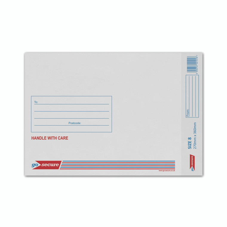 KF71454 GoSecure Bubble Lined Envelope Size 8 270x360mm White Pack 50 KF71454