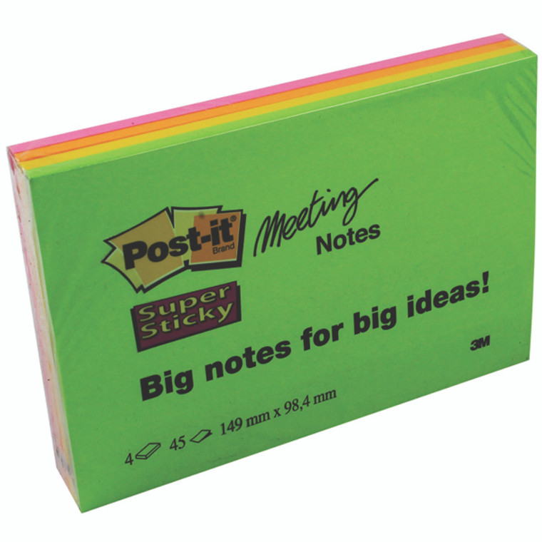 3M84968 Post-it Super Sticky Meeting 149x98mm Neon Asrtd Pack 4 6445-4SS