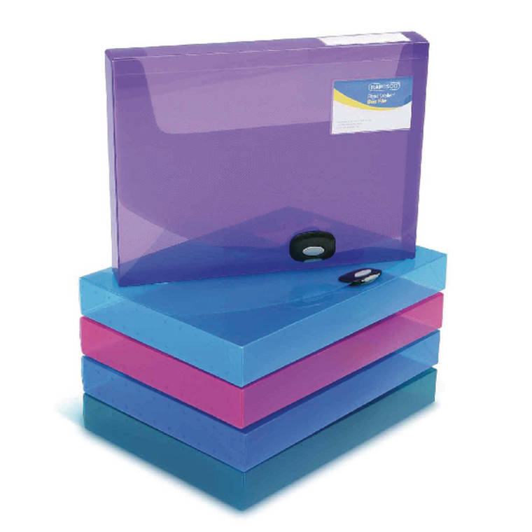 HT00031 Rapesco Rigid Wallet Box File 40mm A4 Assorted Pack 5 1048
