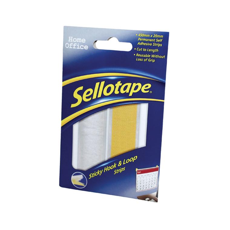 SE40724 Sellotape Sticky Hook Loop Strip 450mm 1445183