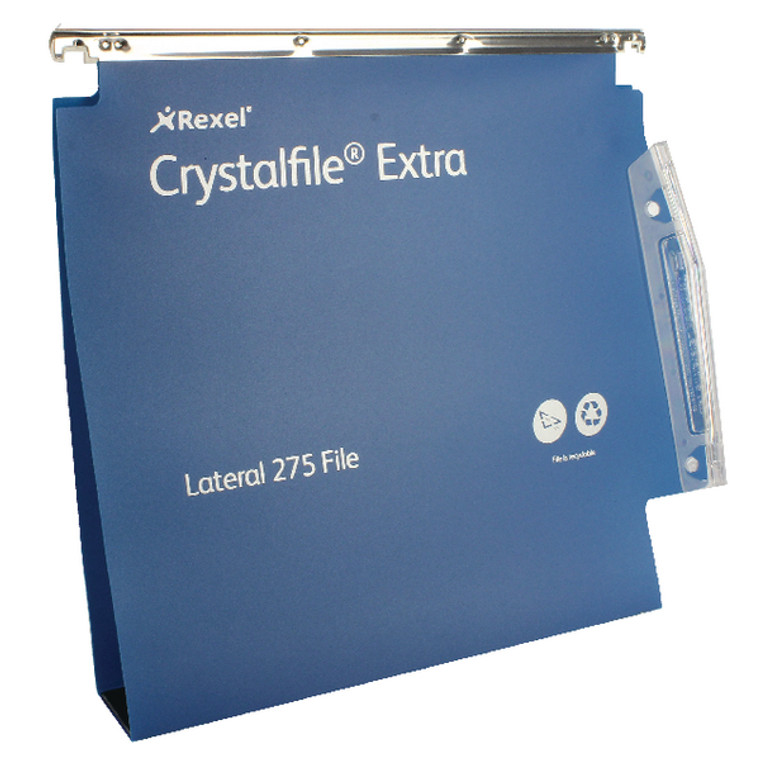 TW71765 Rexel Crystalfile Extra 50mm Lateral File Blue Pack 25 71765