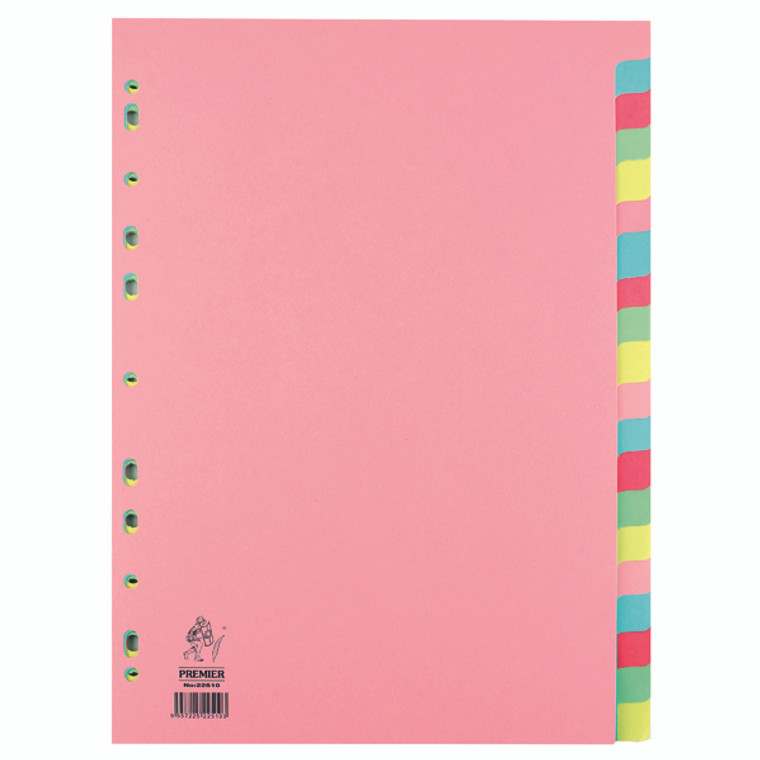 WX01517 A4 Manilla Divider 20-Part Pink With Multi-Colour Tabs WX01517