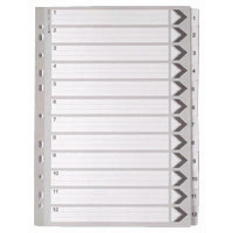 WX01529 A4 White 1-12 Mylar Index Mylar reinforced tabs holes durability WX01529