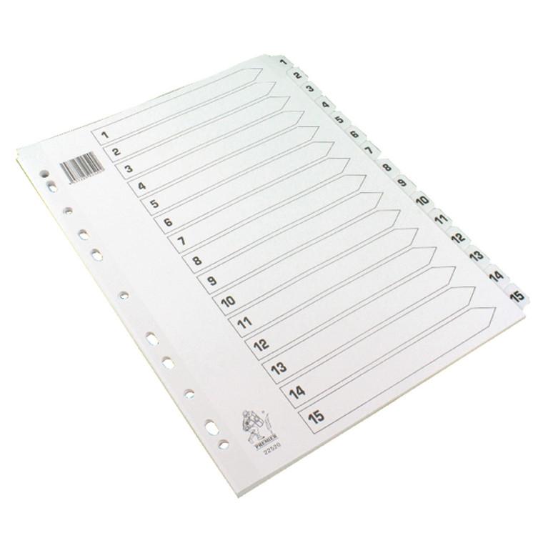 WX01530 A4 White 1-15 Mylar Index Mylar reinforced tabs holes durability WX01530
