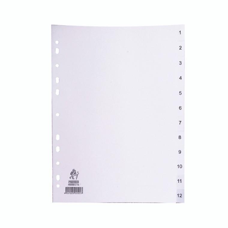 WX01354 A4 White 1-12 Polypropylene Index WX01354