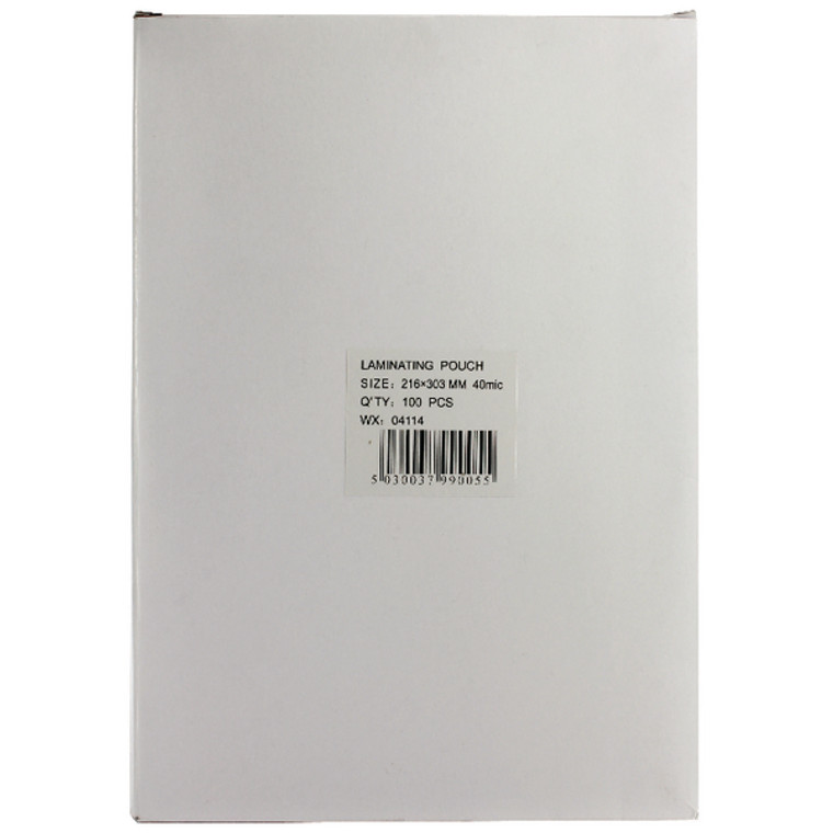WX04114 A4 Lightweight Laminating Pouch 80 Micron Pack 100 WX04114