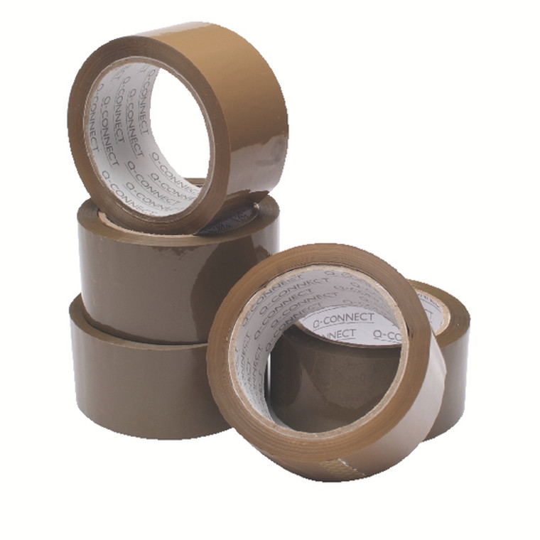 WX27010 6 x Buff Packaging Tape 50 mmx66m Made from clear polypropylene plastic WX27010