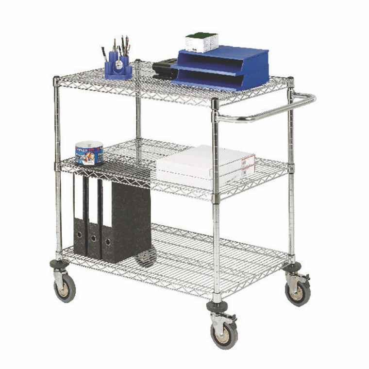 SBY19674 3-Tier 240kg Chrome Mobile Trolley W457 x D914 x H965mm 372996