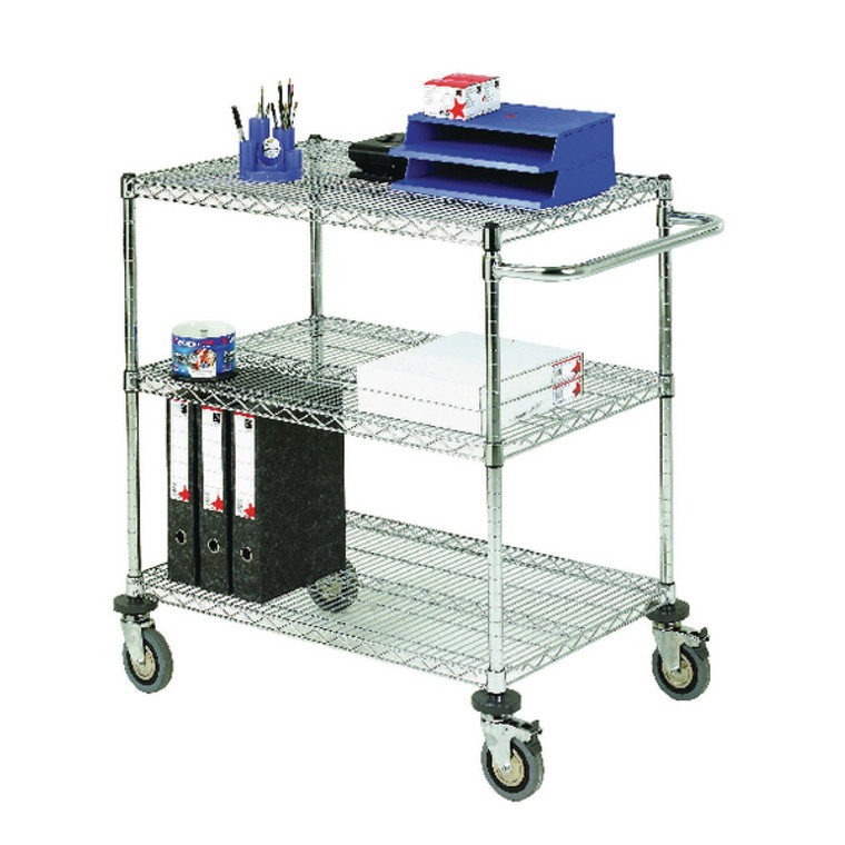 SBY19676 3-Tier 240kg Chrome Mobile Trolley W457 x D1219 x H965mm 372998