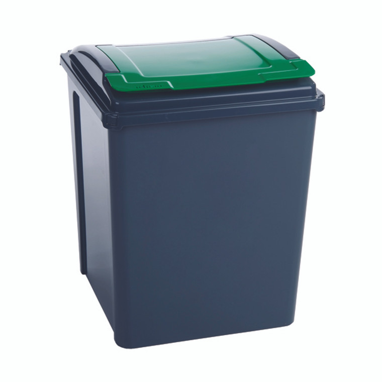 SBY28523 VFM Recycling Bin With Lid 50 Litre Green Dimensions W390 x D400 x H510mm 384288