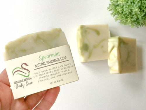 Spearmint Soap with Wheatgrass and Spinach
