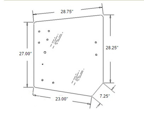 Kubota Rear Upper Glass -- 3C581-70553
