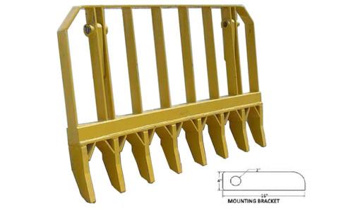 7' Root Rake (8 Tines)(w/ Mounting Brackets & Pins) -- PV490