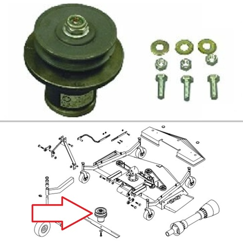 King Kutter Finish Mower Spindle Assembly with Single Groove Pulley -- 502303