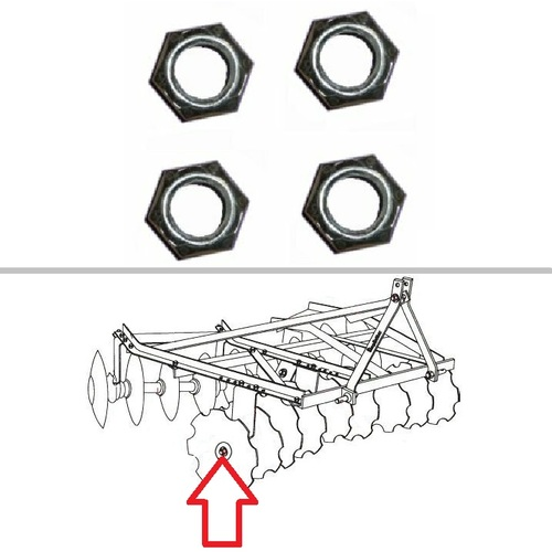 "King Kutter Angle Frame Disc Harrow Lock Nut Set (1"" Disc) -- 504280"