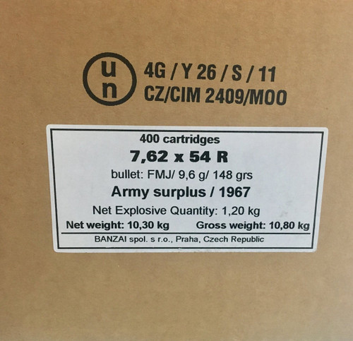 Surplus Corrosive Sellier & Bellot 7.62x54mmR 148gr FMJ (400rnds)