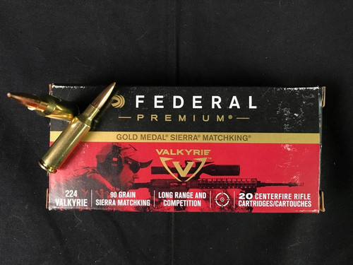Federal Premium 224 Valkyrie 90gr MatchKing 20 Rnds