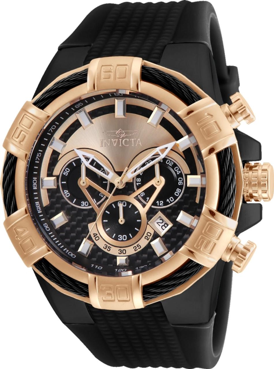 Invicta Men S 24700 Bolt Quartz Multifunction Black Rose Gold Dial Watch