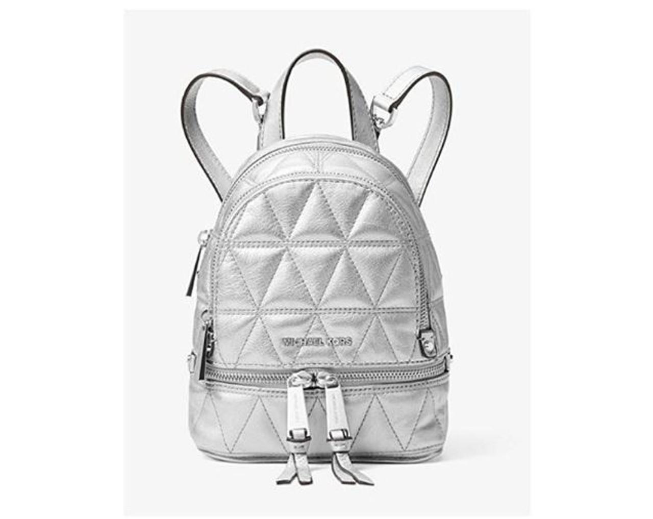 ae1af74d1f525 MICHAEL Michael Kors Rhea Mini Metallic Quilted Leather Backpack in Silver  30S8MEZBOK-040