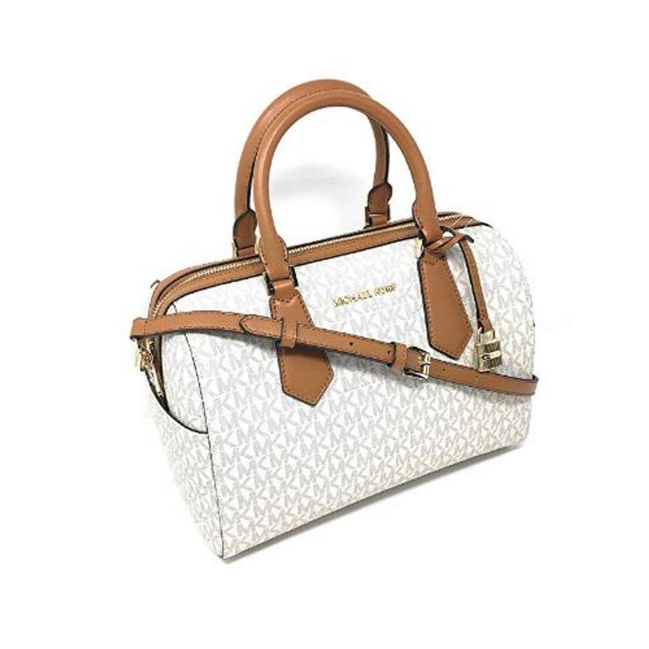 Michael Kors Hayes Large Duffle Satchel Bag Vanilla MK Signature 35H8GYEU3B 150