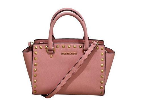 Michael Kors - Selma Stud Saffiano Leather Medium Top Zip Satchel - Pale Pink 30T3GSMS2L-656