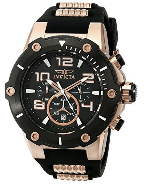 Invicta Men's 17201 Speedway Analog Japanese Quartz Black & 18k Rose Gold Ion-Plated Stainless Steel Watch