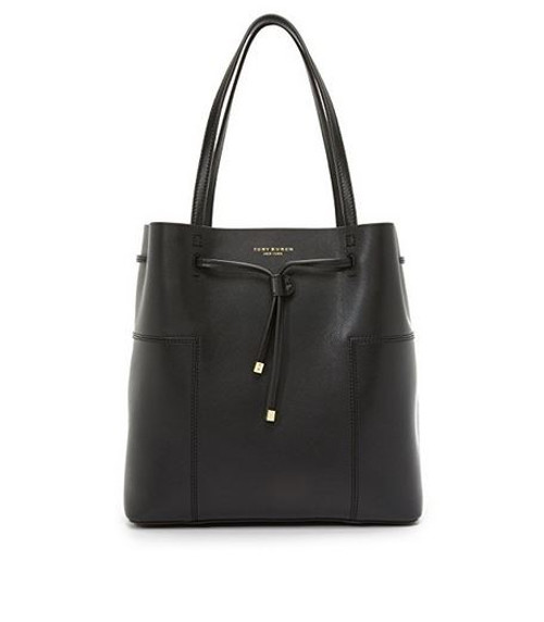 Tory Burch Block-T Drawsting Leather Tote- Black  1169642-001