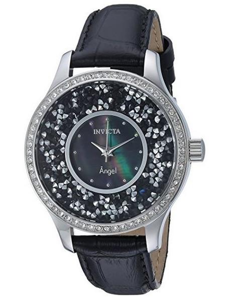 Invicta Women's 'Angel' Quartz Gold-Tone and Leather Casual Watch, Color:Black (Model: 24592) …