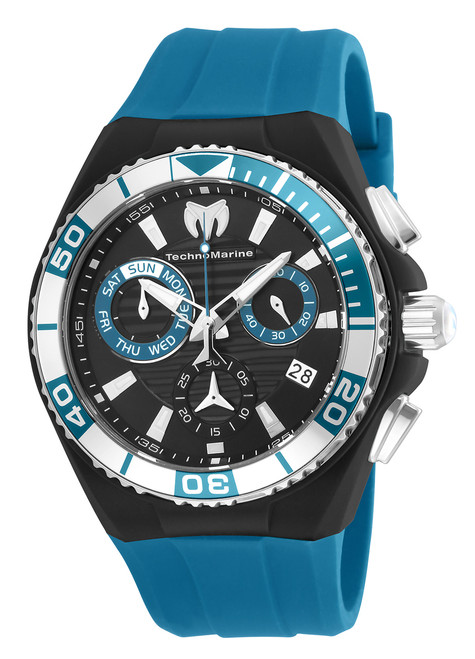 TechnoMarine Men's Cruise Locker 45mm Blue Silicone Band Steel Case Swiss Quartz Analog Watch TM-115163