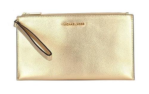 Michael Kors Mercer Large Zip Clutch in Pale Gold 32F6MM9W3M-740