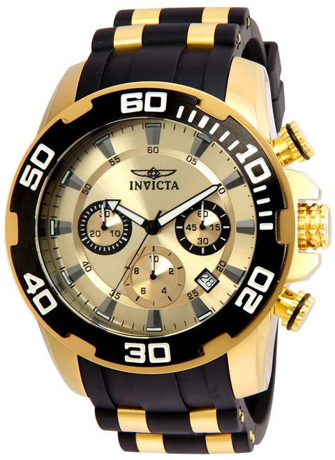Invicta Men's 22346 Pro Diver Quartz Chronograph Gold Dial Watch