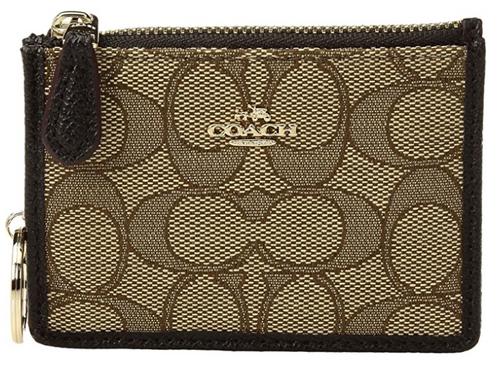 COACH Women's Box Program Signature Jacquard Mini ID Skinny Li/Khaki/Brown One Size 14471B-LIC7C