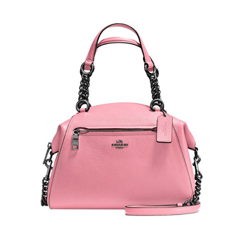 COACH Women's Polished Pebble Leather Chain Prairie Satchel Dk/Dusty Rose One Size 59501-DKDRO