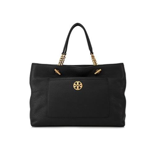 Tory Burch Chelsea Pebbled Leather Satchel (Black)