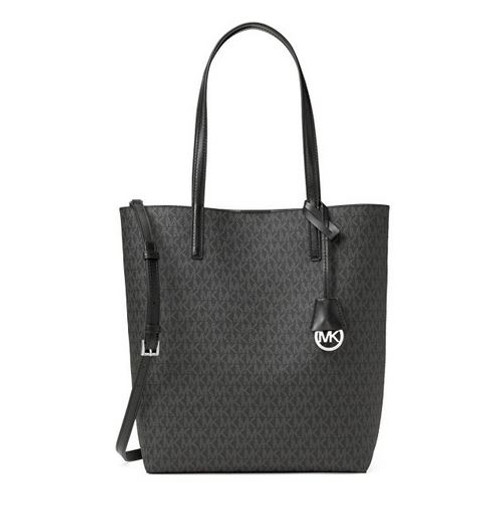 Hayley Large Logo North-South Tote Crossbody Black and Grey 30F6SH3T3V-027